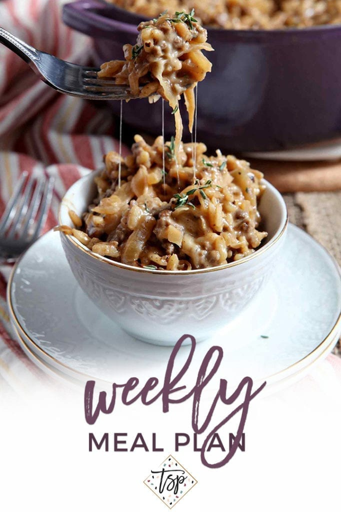 Pinterest image for Dinner Divas Weekly Meal Plan 126, featuring a close up of French Onion Risotto being pulled out of a bowl