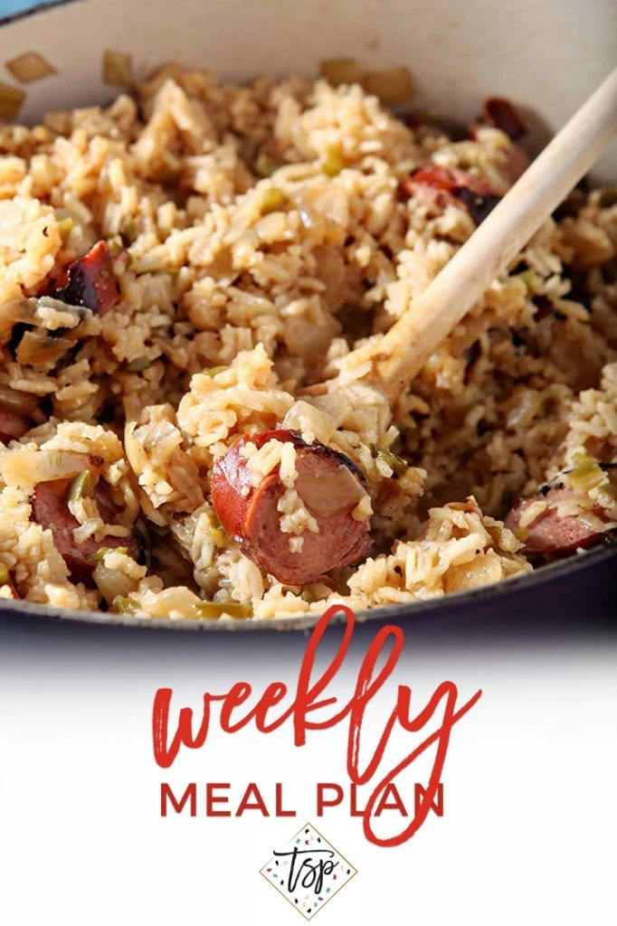 Pinterest image for Dinner Divas Weekly Meal Plan 127, featuring a close up of a Dutch oven with Turkey Sausage Jambalaya in it