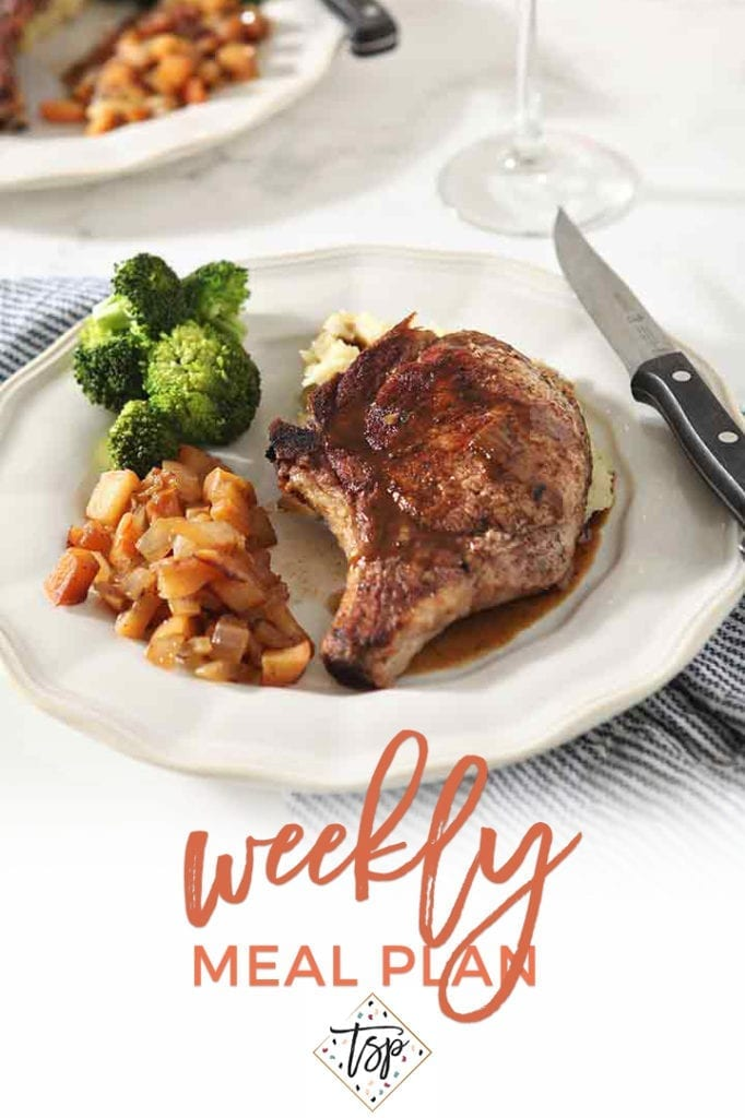 Pinterest image for Dinner Divas Weekly Meal Plan 128, featuring a close up of the Cinnamon Apple Pork Chops