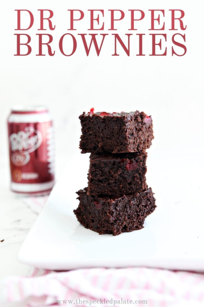 Dr Pepper Chocolate Cherry Brownies are stacked on top of each other, with Pinterest text