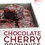 Dr Pepper Chocolate Cherry Brownies are stacked in a pan, with Pinterest text