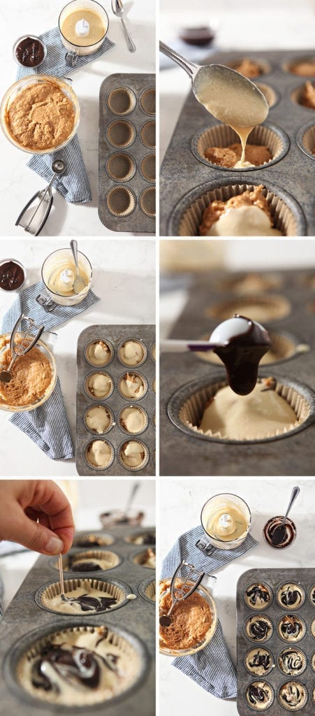 Collage of six images showing how to put together the muffins before baking