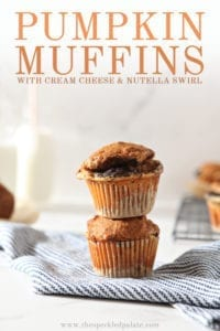 Two Easy Pumpkin Muffins are stacked on top of each other, with Pinterest text