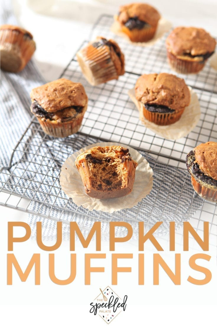Celebrate the change of seasons with Easy Pumpkin Muffins with Cream Cheese and Nutella Swirl. These homemade muffins are perfect for any fall breakfast. | Fall Baking | Easy Entertaining | Brunch Recipe | #pumpkin #muffins #speckledpalate