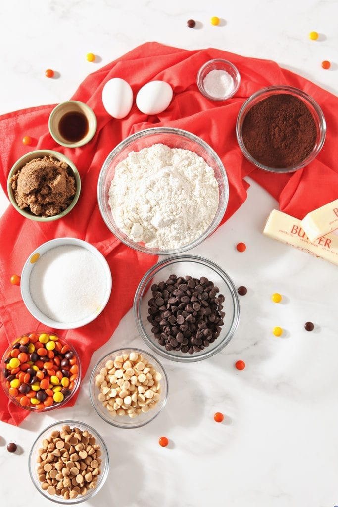 Ingredients for the cookies, from above, in separate bowls