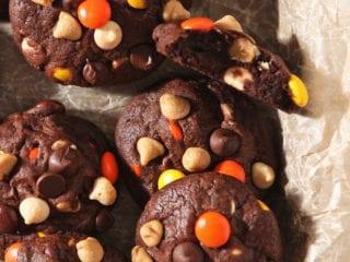 Halloween Peanut Butter Chocolate White Chocolate Chip Cookies