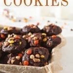 Pinterest image of Chocolate White Chocolate Chip Cookies, on a baking sheet, with text