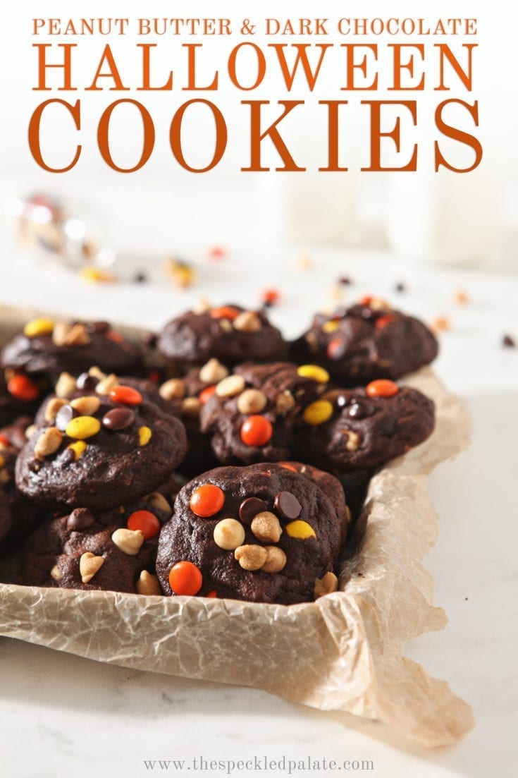 Chocolate White Chocolate Chip Cookies with Peanut Butter are the perfect cookies for Halloween! These super soft dark chocolate cookies are studded with white chocolate, semisweet chocolate and peanut butter chips. #speckledpalate #freakyfridayrecipes