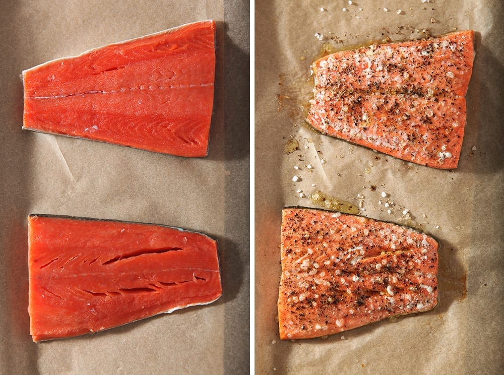 Collage of the salmon from above in two images: one before cooking and one after