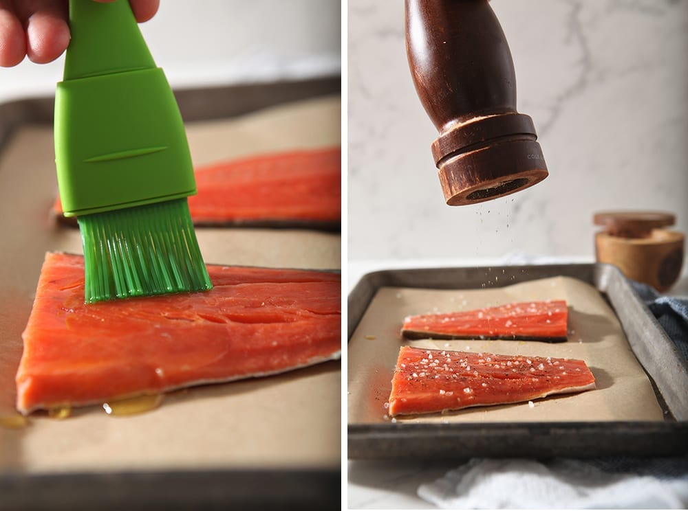 Collage of two images of salmon, one of it being brushed with ghee and the other of pepper being cracked on top of it