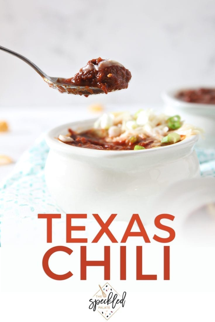 With flavors as big and bold as the state, this Texas Chili recipe is a twist on the classic. Using beef stew meat and spices, it packs in heat and flavor! #speckledpalate #ad
