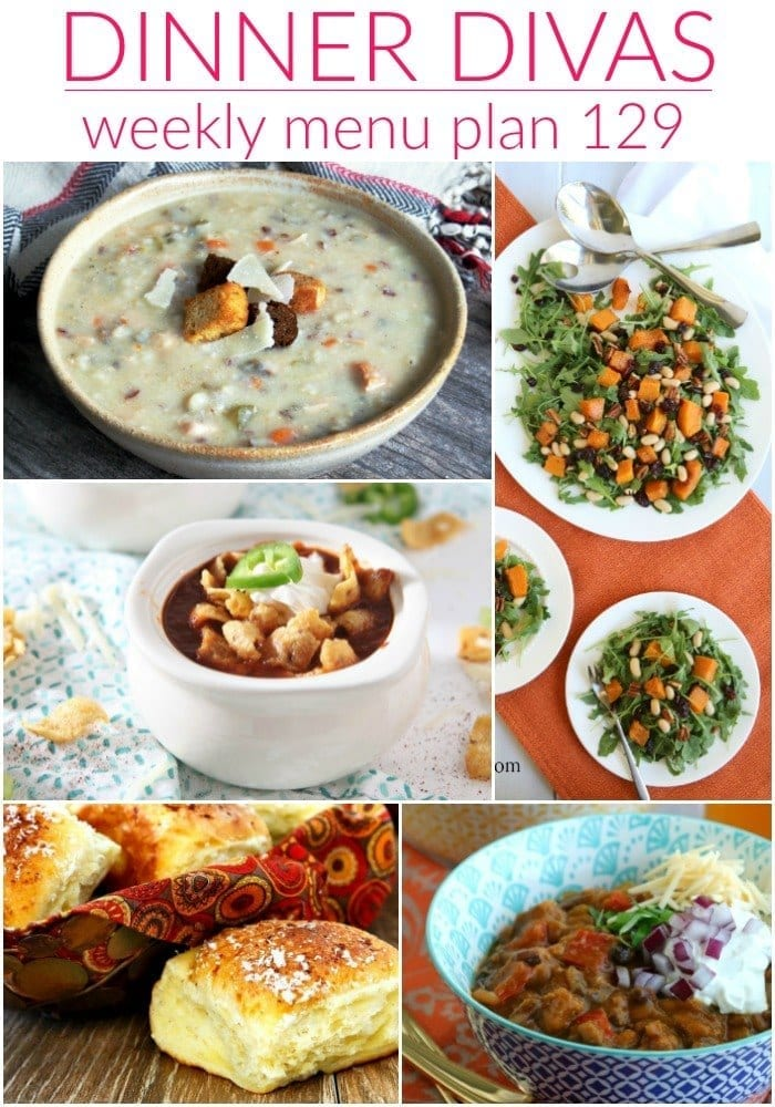 Collage for Dinner Divas Weekly Meal Plan 129, featuring five of the seven recipes shared