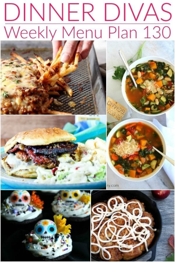 Collage for Dinner Divas Weekly Meal Plan 130, featuring five of the seven recipes shared