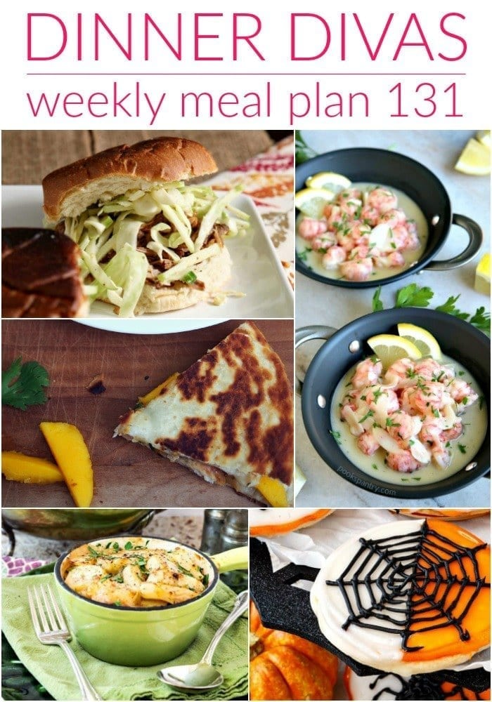 Collage for Dinner Divas Weekly Meal Plan 131, featuring five of the seven recipes shared