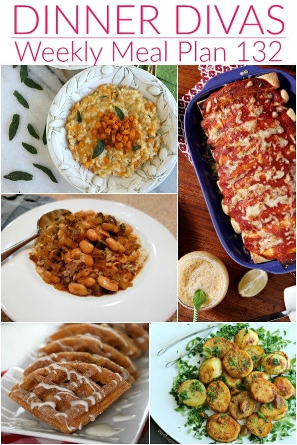 Collage for Dinner Divas Weekly Meal Plan 132, featuring five of the seven recipes shared