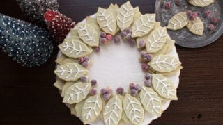 Pistachio Sugar Cookie Wreath with Sugared Cranberries