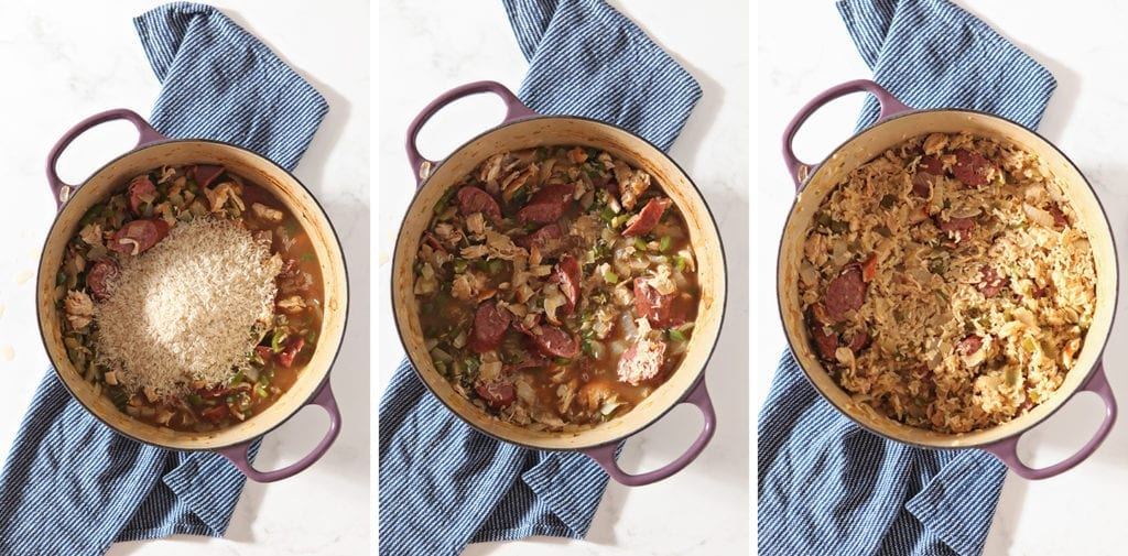 Collage of three images showing the pot with the rice, before cooking and after