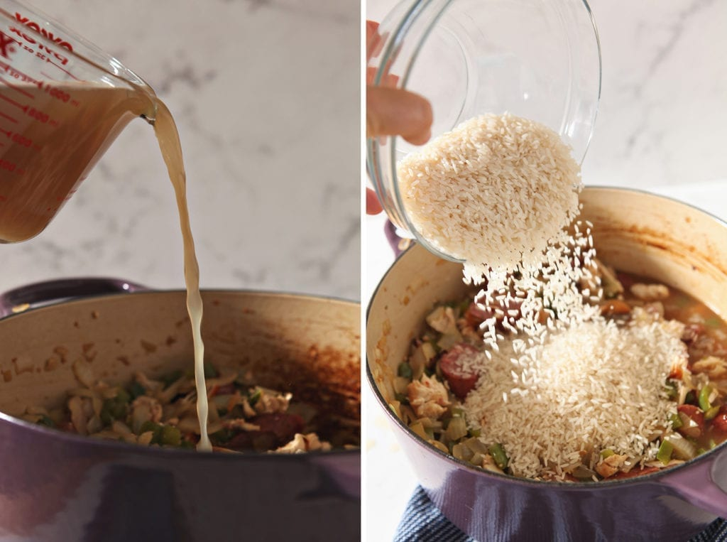 Collage of two images showing the adding of chicken stock and rice to the pot