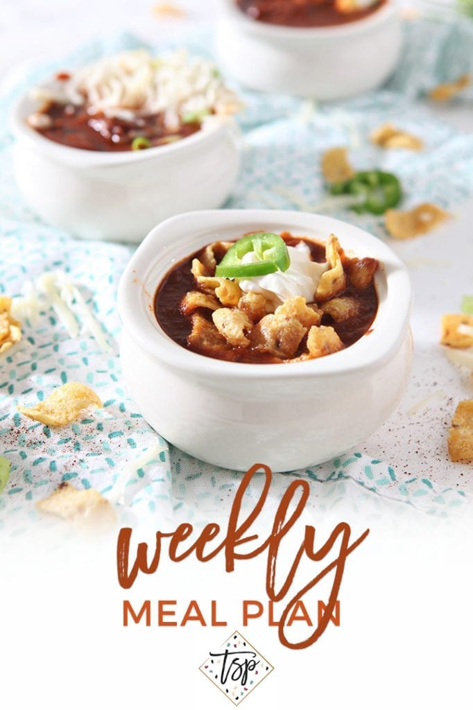 Pinterest image for Dinner Divas Weekly Meal Plan 129, featuring a close up of the Texas Chili