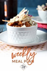 Pinterest image for Dinner Divas Weekly Meal Plan 130, featuring a close up of the Pumpkin Pulled Pork Bowls