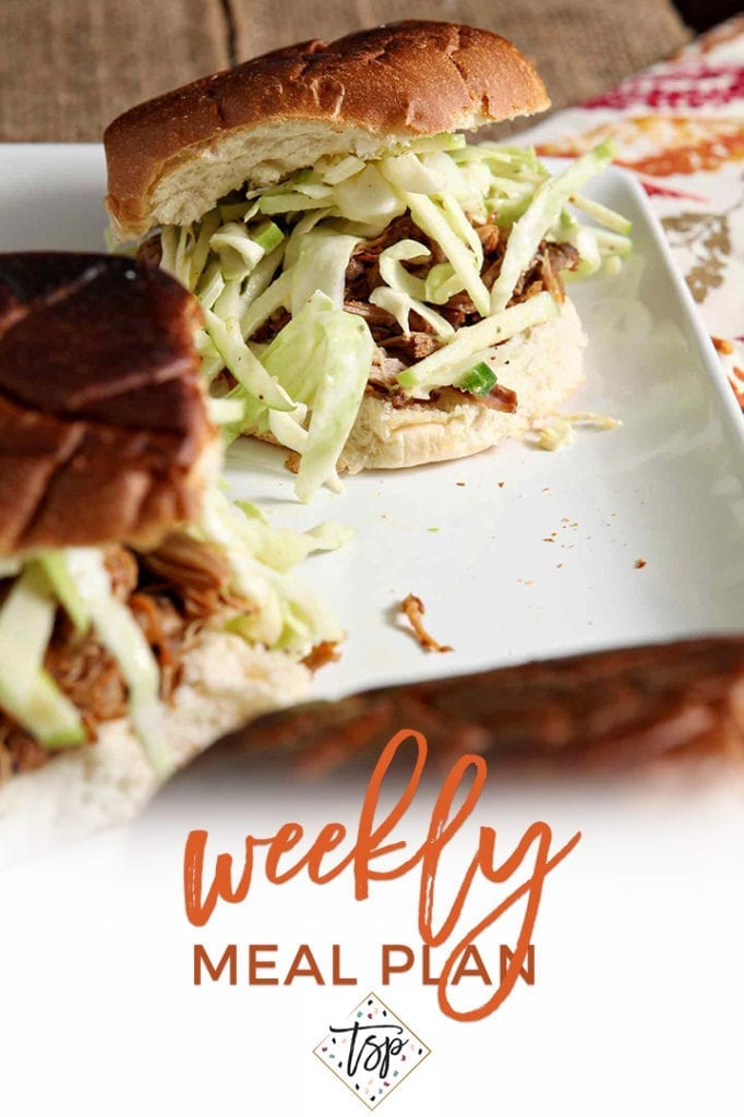 Pinterest image for Dinner Divas Weekly Meal Plan 131, featuring a close up of the Apple Cider Pulled Pork with Apple Cabbage Slaw