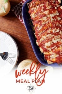 Pinterest image for Dinner Divas Weekly Meal Plan 132, featuring a close up of the Pork Carnitas Enchiladas