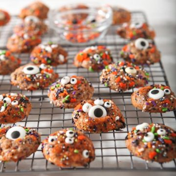 Halloween Funfetti Cookies, on a cooling rack