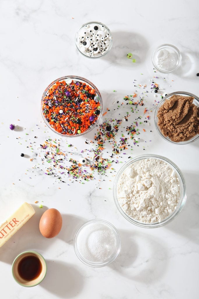 Overhead of ingredients for the cookies