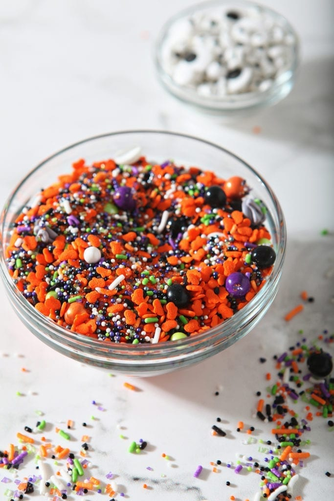Close up of mixed Halloween sprinkles in a bowl