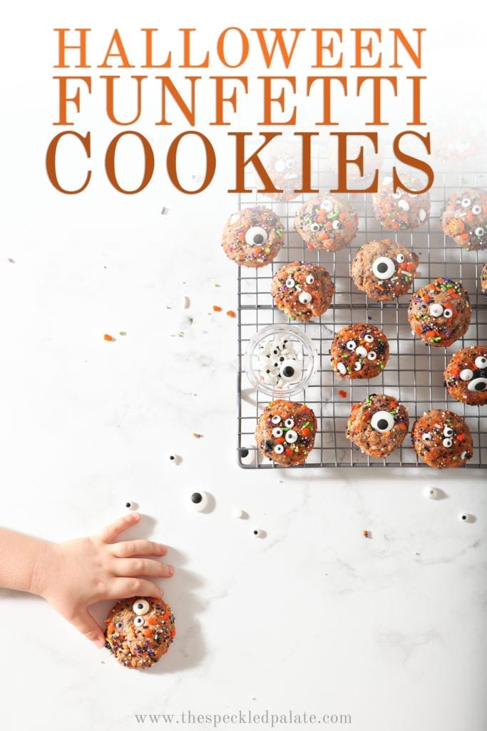 A girl grabs a Funfetti Cookie, from above, with Pinterest text