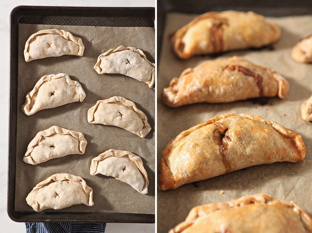 Collage of the meat pies before baking and after