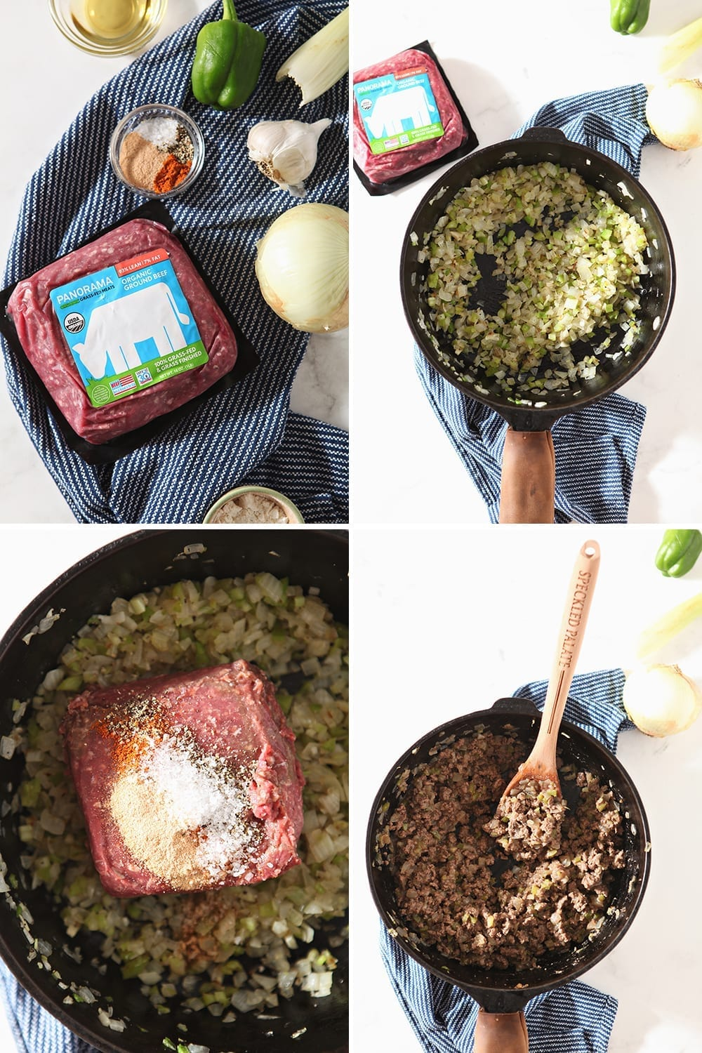 Collage of how to make the meat filling, showing sauteeing veggies and browning the meat