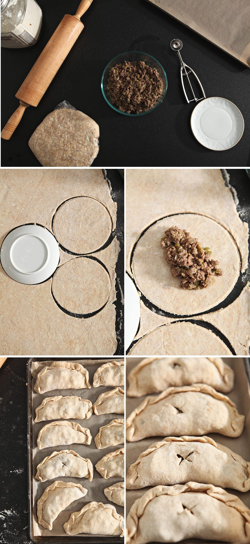 Collage showing how to put together the handheld pies before they go into the freezer