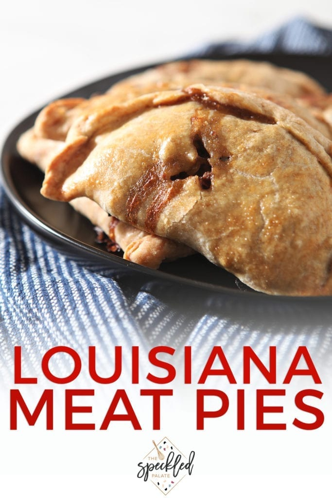 A platter holds meat pies, with Pinterest text