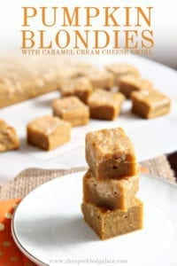 Pumpkin Blondies with Caramel Cream Cheese Swirl are stacked on top of each other, with Pinterest text