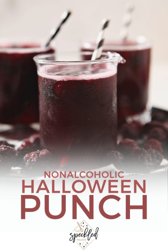 Pinterest graphic for Nonalcoholic Halloween Punch, featuring a close up of the drinks
