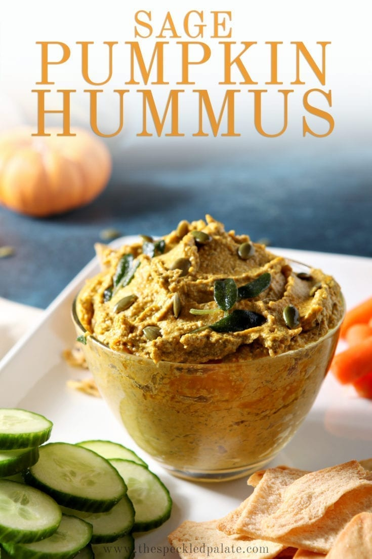 Serve Sage Pumpkin Hummus this fall at any gathering! This savory pumpkin dip is sure to be a winner, no matter who you share it with. #easyentertaining #speckledpalate