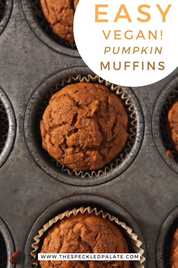 An overhead of Pumpkin muffins in a metal baking tin with the text 'easy! vegan pumpkin muffins'