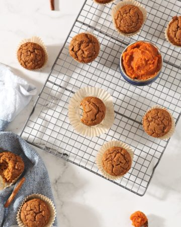 Overhead of Vegan Pumpkin Muffins on a cooling rack