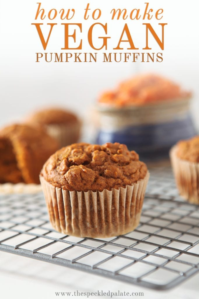 Several muffins on a wire cooling rack with the text 'how to make vegan pumpkin muffins'