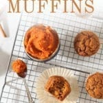 Overhead of pumpkin muffins on a cooling rack, with text