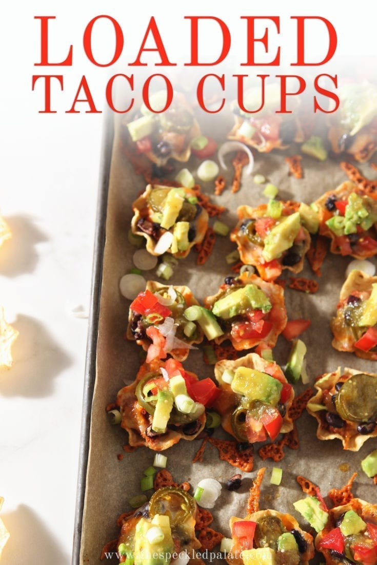 Host friends for a football party and serve Individual Taco Cups to all! These vegetarian nachos are the perfect bite-sized appetizer for a crowd. #nachos #tailgating #speckledpalate