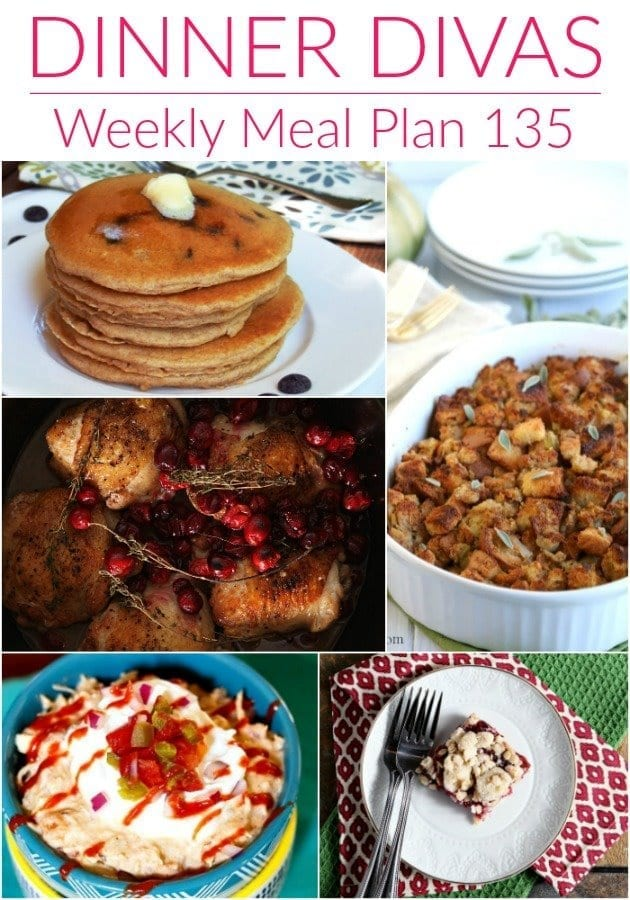 Collage for Dinner Divas Weekly Meal Plan 135, featuring five of the seven recipes shared