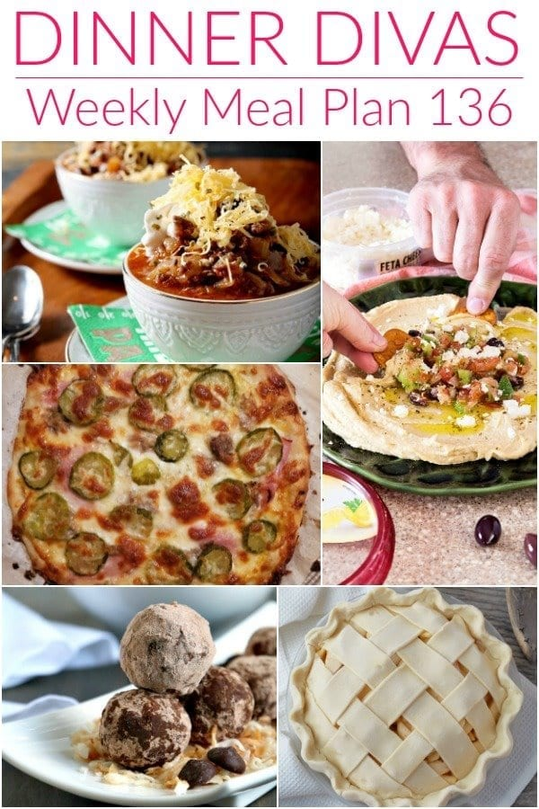 Collage for Dinner Divas Weekly Meal Plan 136, featuring five of the seven recipes shared