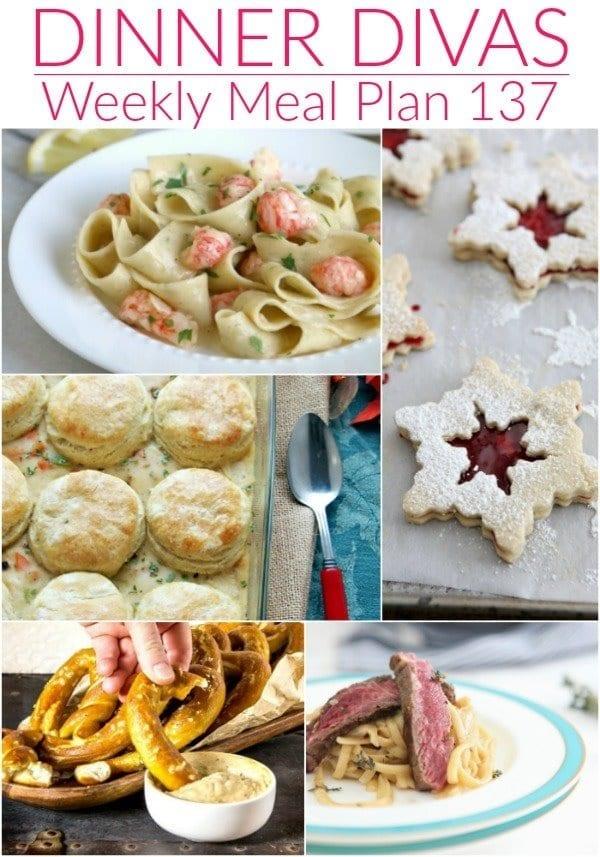 Collage for Dinner Divas Weekly Meal Plan 137, featuring five of the seven recipes shared