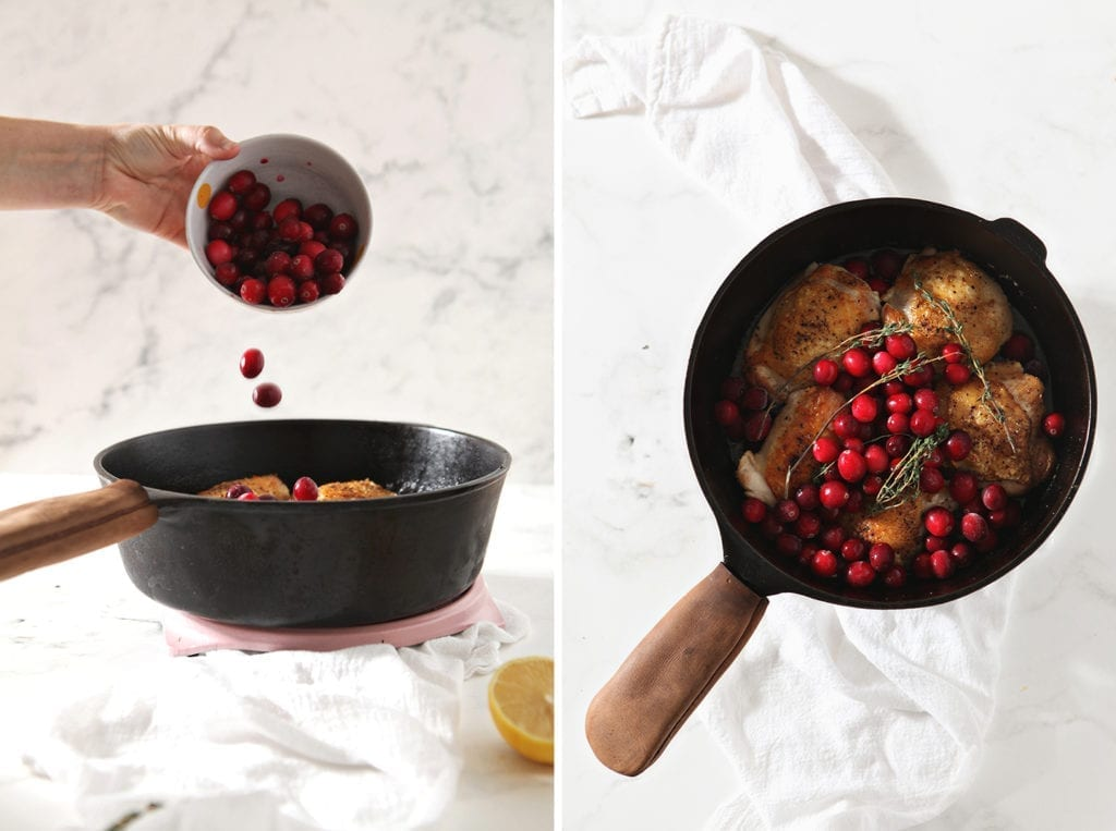Collage of cranberries going into the skillet, next to an image of the dish before it goes into the oven