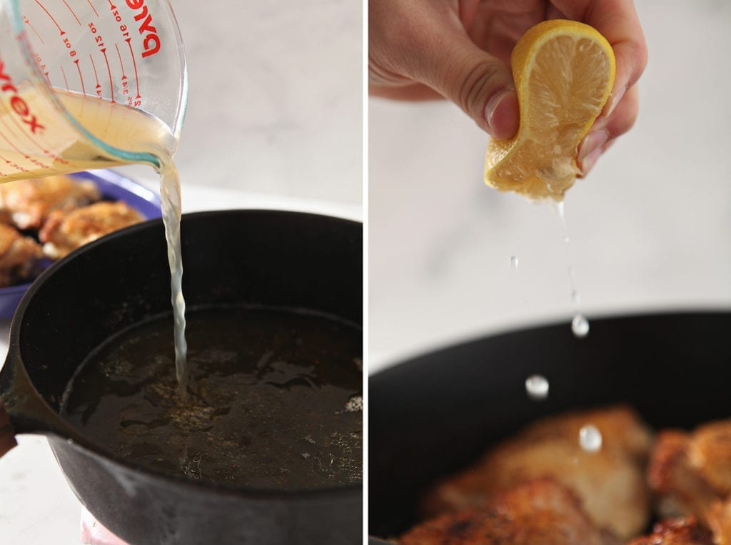 Collage of two images, showing the pouring of bone broth and the squeezing of a lemon, side by side