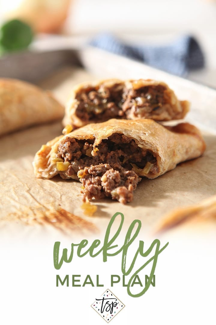 Pinterest image for Dinner Divas Weekly Meal Plan 133, featuring a close up of the Ground Beef Meat Pies