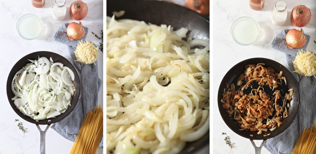 Three photo collage that shows the steps of caramelizing the onions