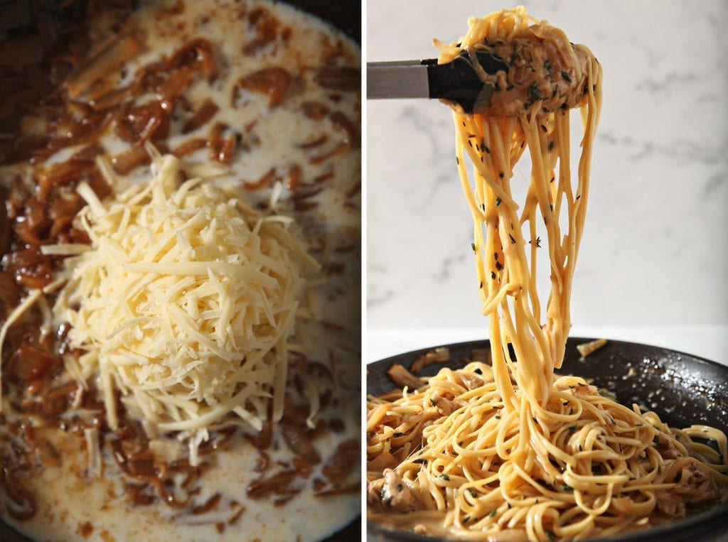 Collage of two images that shows ingredients in the sauce and the addition of pasta to it